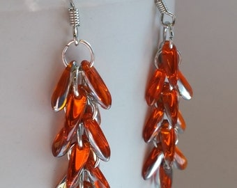 Orange Waterfall Earrings