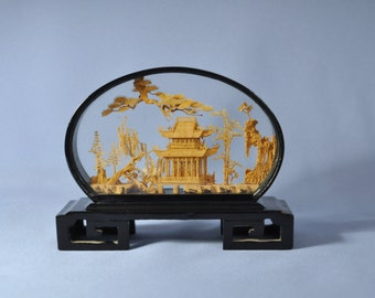Antique Chinese Cork Craving or Sculpture Hand Carved Lacquer Frame DSC_00214b