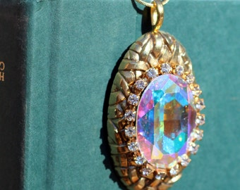 Vintage Aurora Borealis AB Crystal Gold Statement Brooch Conversion Pendant Necklace