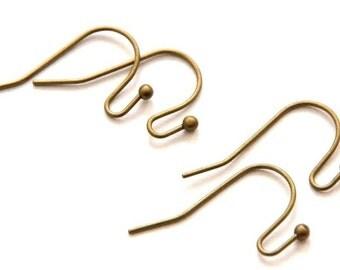 40 Ear Hook Bronze, 11 x 22 mm