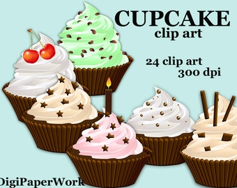 Cupcake clipart  holiday clip art Digital Elements digital cupcake clipart  Personal and Commercial Use