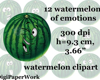Watermelon of emotions Clip Art Digital 12 Scrapbooking Elements Personal and Commercial Use