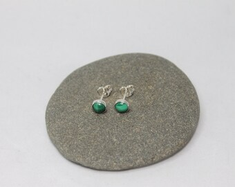 Small Sterling Silver Malachite Ear Studs