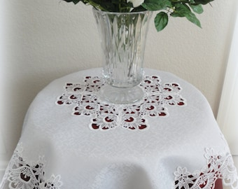 """34"""" Table Topper DECADENT WHITE  Square Lace Tablecloth Doily"""
