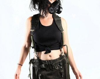 Post-Apocalyptic skirt/kilt with harness suspenders
