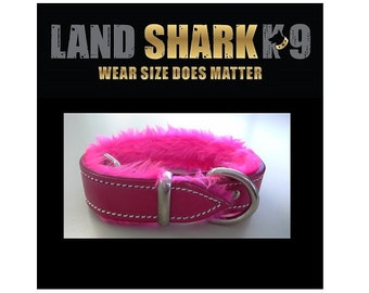 XX-Large Pink Pure Leather Dog Collar with Soft Pink Faux Fur Inner Lining