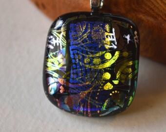 Bright Blue Dichroic Glass pendant