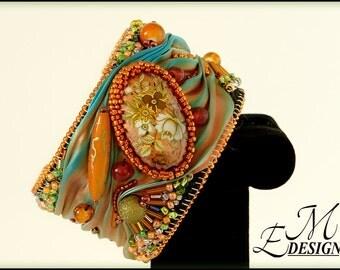 Bead Embroidered Shibori Ribbon Bracelet.
