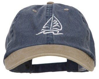 Sailboat Wave Embroidered Washed Two Tone Cap