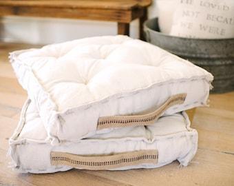 Farmhouse Floor Cushion - Bench Cushion - Chair Cushion - Tufted Cushion - French Mattress