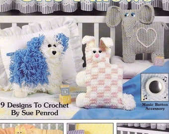 Musical Crib Pillows, Leisure Arts Baby Toy Dolls  Crochet Pattern Booklet 2195