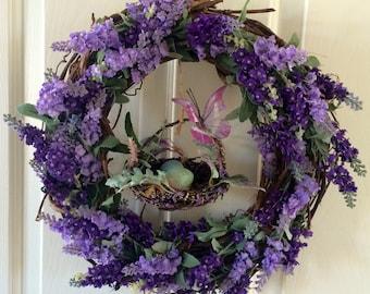 Lavender Bird's Nest Wreath