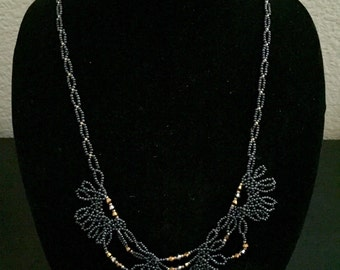 """Beaded Lace Necklace: """"Midnight"""""""