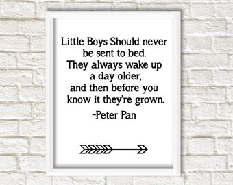 Instant download, peter pan, Little Boys Should Never Be Sent To Bed, They Always Wake Up A Day Older, nursery quote, Digital Download Print