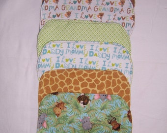 Flannel baby burp cloths - sold in set of 3