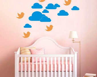 Flying Birds with the Clouds Wall Decal  Stickers.