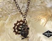 Owl & Gear / Steampunk, long necklace!
