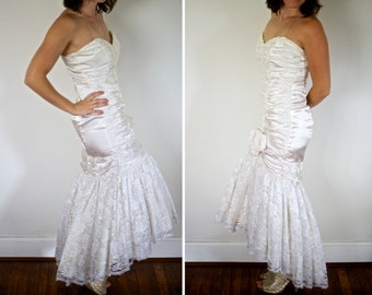 Fabulous 1980s Mermaid / Trumpet Wedding Dress - Sequins, Satin and Lace