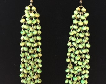 Green three tails earrings