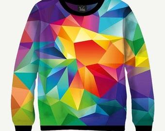 Colorful Geometric Figure, Abstract Shapes - Men's Women's Sweatshirt | Sweater - XS, S, M, L, XL