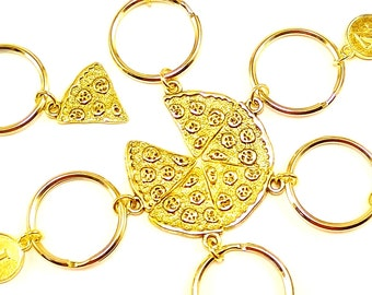 Golden Pizza keyrings, keychains, bag charms personalized monogram Item No.69