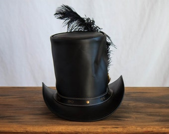 Steampunk Lincoln Top Hat with Feather