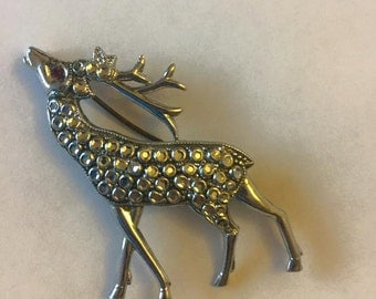 Charles Horner unsigned staybright Deer brooch