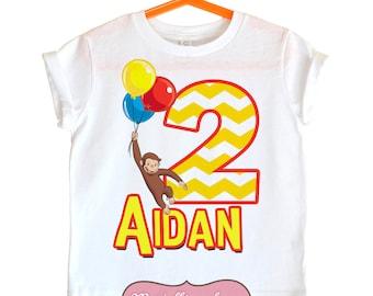 Curious George Birthday Shirt - Personalized Birthday shirt
