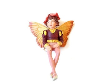 Wallflower Fairy figurine, fairy garden miniature, fairy garden, miniature garden, fairy garden decor, fairies, faeries, boy fairy, C Barker