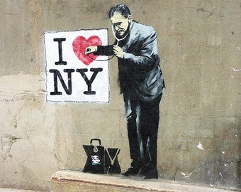 Banksy Canvas - I love NY (UV coating, Wooden Frames, Ready-to-hang)