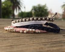 Hollister Bracelet Stack, Set of Four Adjustable Waterproof Multi-Strand Bracelets With Metal Beads, Stacked Bracelets, Gifts for Her