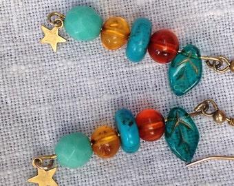 Turquoise star amber earrings