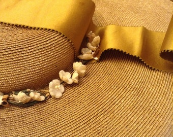 Antique Straw Hat Large Ladies Wide Brim Short Crown Straw Hat from the 1800s? (A153)