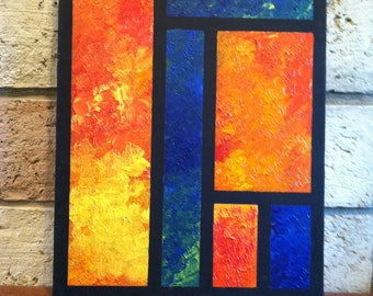 Orange & Blue Grid #1