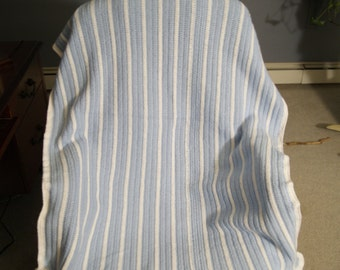 baby blue and white stripes blanket