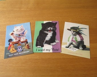 Three Suffragette Cat Postcards
