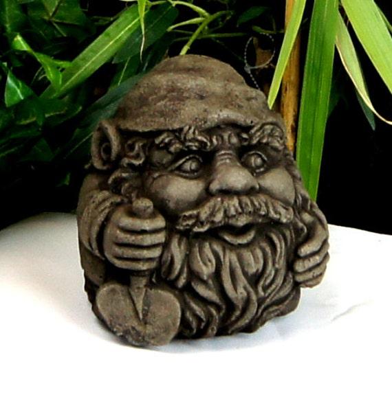 Gnome Garden: Garden Gnome With Shovel Concrete Garden Statue Cement