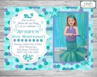 Mermaid invitation, Mermaid photo invitation, Mermaid birthday invitation, Mermaid invite, Mermaid party, Mermaid Birthday