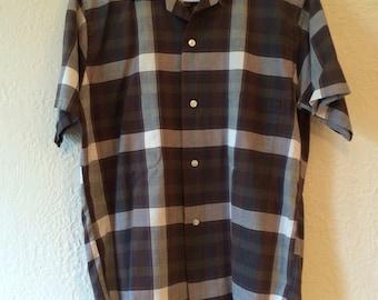 Vintage Plaid Short Sleeved Shirt size M