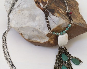 Bohemian Long Necklace, Double Chain, Tassel Pendant, Mixed Metals Necklace, Howlite, Magnesite, Red Jade, Boho Necklace