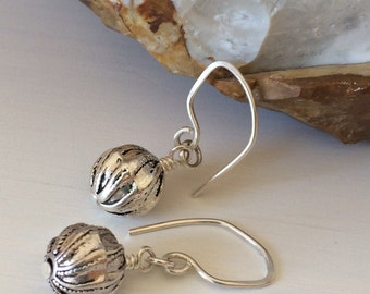 Handmade Sterling Silver Earrings, Round Ball Drop Earring, Handmade Earwires, Simple Drop Earrings