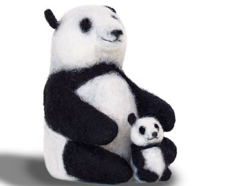 Panda, made to order, hand made, soft sculpture, OOAK needle felted, needle felting