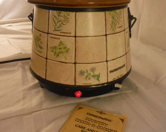 Farberware Country Crock-R-Cooker Slow Cooker Model #281 w/booklet