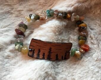 Evergreen leather beaded bracelet