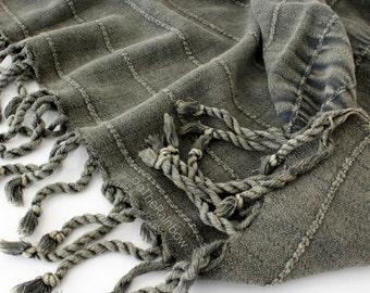 Stonewashed Grey Beach Towel | Charcoal Grey Soft Cotton Bath Sheet | Hand-loomed Turkish Towel Peshtemal | Travel Towel wt Tassels