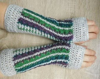 Gray-green-violet mittens, Crochet mittens, Fingerless gloves, Fingerless mittens, Crochet fingerless gloves, Gloves - MADE TO ORDER 16100