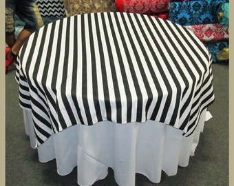 "Black / White Stripe 1"" Print Cotton Table Overlay [58"" X 58""] [72 X 72] Round [90""] [108""] [120""] [132""] Square Tablecloth Cover"