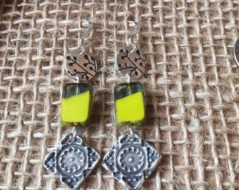 Square Aztec Dangle Earrings