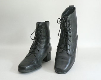 Womens High Top Leather Lace Up Granny Boots Size 7.5