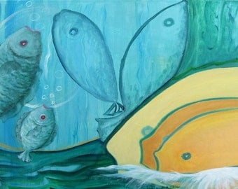"""Acrylic painting """"Let go"""" from the series """"like a fish in water"""""""